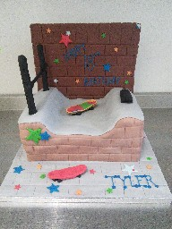 Skateboarding Ramp Cake with Skateboards