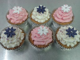 Purple, White and Pink Butter-Cream Cup Cakes