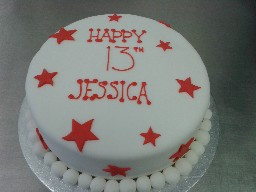 Simple 13th Birthday Cake with Stars