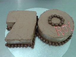 Chocolate Buttercream 70th Birthday Cake