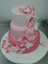 Pink, Three Tier Butterfly Birthday Cake