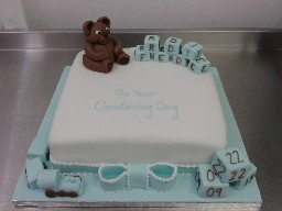 Baby Boy Christening Cake with Teddy Bear and Blocks