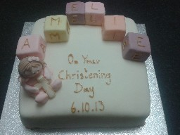 Girly Christening Cake with Figure and Name Blocks