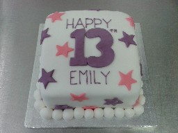 Pink and Purple Starry 13th Birthday Cake