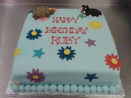 Pets, Flowers and Stars Birthday Cake