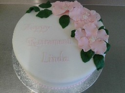 Simple Retirement Cake with Large Pink Roses
