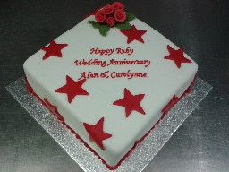 Red Stars and Roses Wedding Anniversary Cake