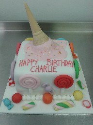 Sweetie Themed Birthday Cake with Ice Cream Cone Topper