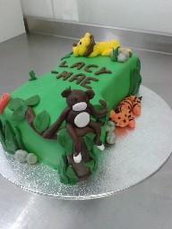 Jungle Animal Themed 1st Birthday Number Cake