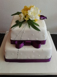 Simple Two Tier Wedding Cake with Flower Topper