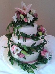 Stacked Three Tier Wedding Cake with Real Flower Topper