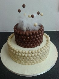 White and Plain Chocolate Malteser Wedding Cake
