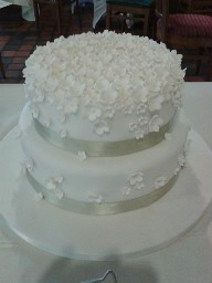 Stacked Two Tier Blossom Wedding Cake