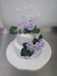 Stacked Two Tier Wedding Cake with Lilac Silk Flower Topper