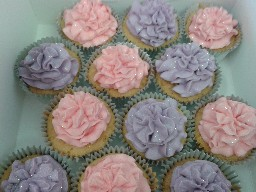 Pink and Purple Buttercreamed Cup Cakes