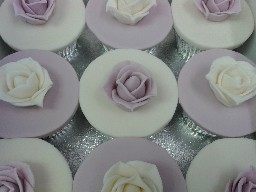 Purple and White Rose Cup Cakes