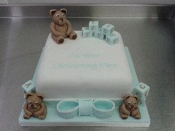Christening Cake with Teddy Bears and Alphabet Name Blocks