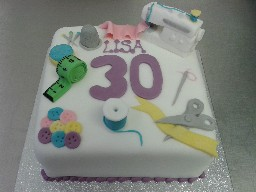 Sewing Themed 30th Birthday Cake