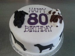 80th Birthday Cake with 3D Chocolate Labrador and Border Collie Toppers