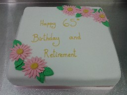 Simple Flowery Birthday and Retirement Cake