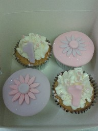 Purple and Pink 1st Birthday Cup Cakes
