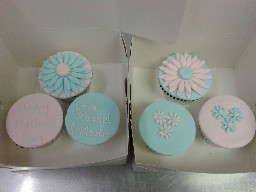 Pink and Blue Flowery Birthday Cup Cakes