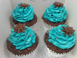 Blue Buttercreamed Chocolate Cup Cakes