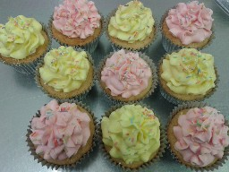 Pink and Yellow Buttercream Cup Cakes
