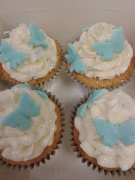 Blue Butterfly Buttercreamed Christening Cup Cakes